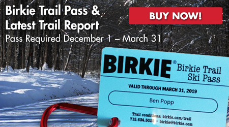 Birkie Trail Pass & Latest Trail Report. Pass Required Dec. 1 - March 31. Buy Now!
