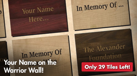 Your Name on the Warrior Wall! Only 29 Tiles Left!