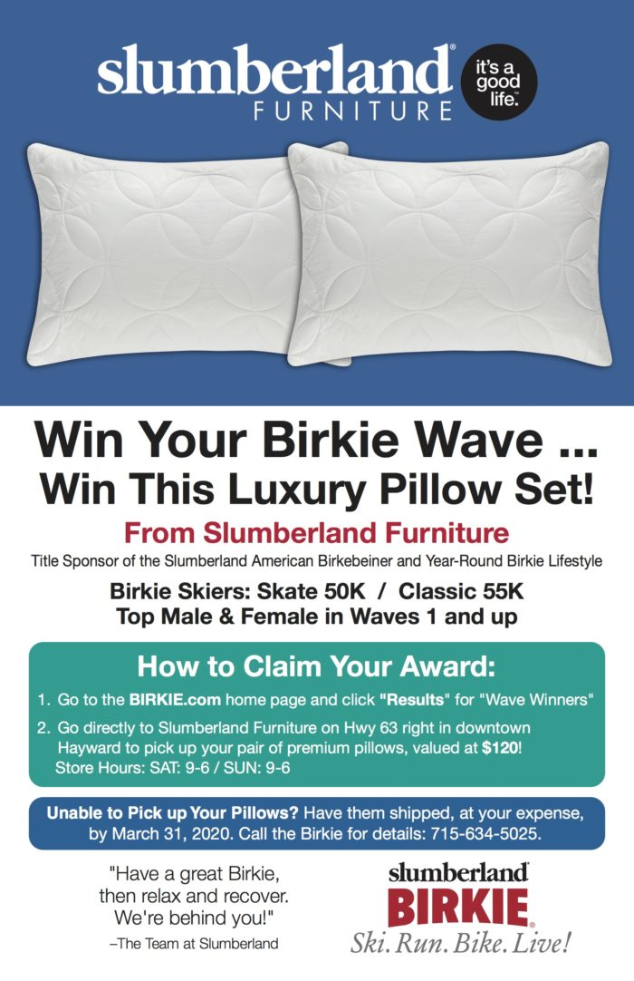 Win Your Birkie Wave... Win This Luxury Pillow Set!