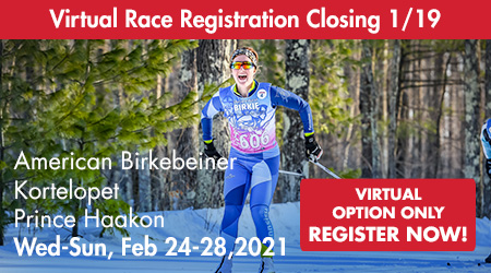 Virtual Race Registration Closing 1/19 - Korte, Birkie, Prince Haakon - Wednesday-Sunday, February 24-28, 2021 - Virtual Option Only Register Now!
